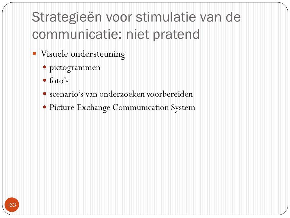 Strategieën voor stimulatie van de communicatie: niet pratend  63 Visuele ondersteuning pictogrammen foto's scenario's van onderzoeken voorbereiden P