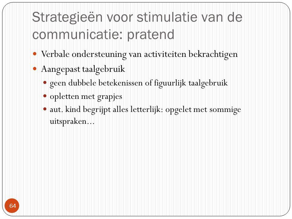 Strategieën voor stimulatie van de communicatie: pratend  64 Verbale ondersteuning van activiteiten bekrachtigen Aangepast taalgebruik geen dubbele b