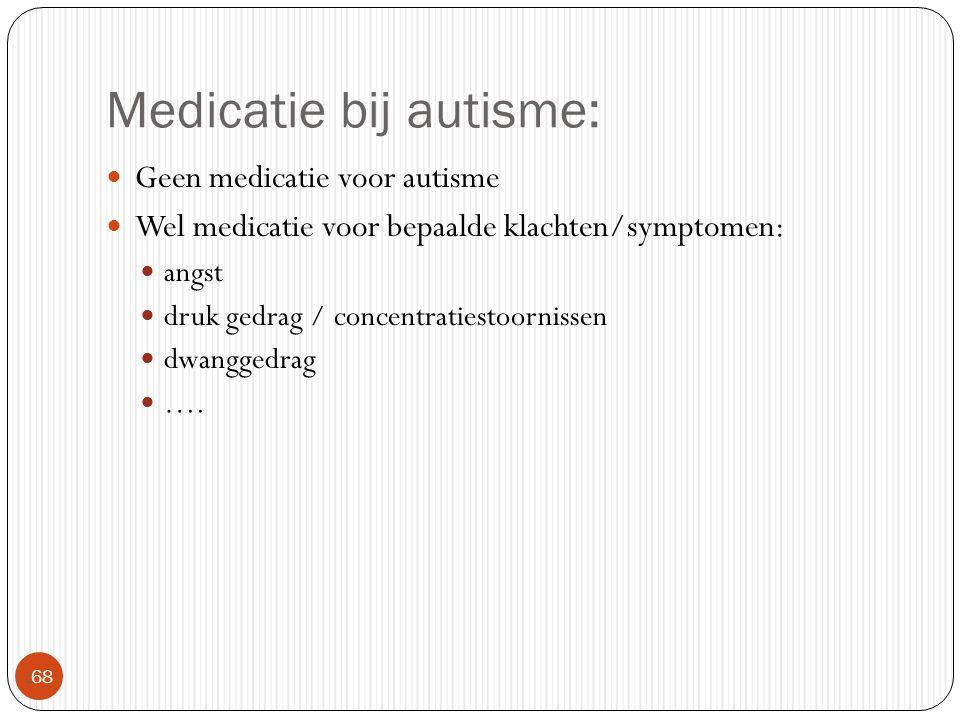 Medicatie bij autisme:  68 Geen medicatie voor autisme Wel medicatie voor bepaalde klachten/symptomen: angst druk gedrag / concentratiestoornissen dw