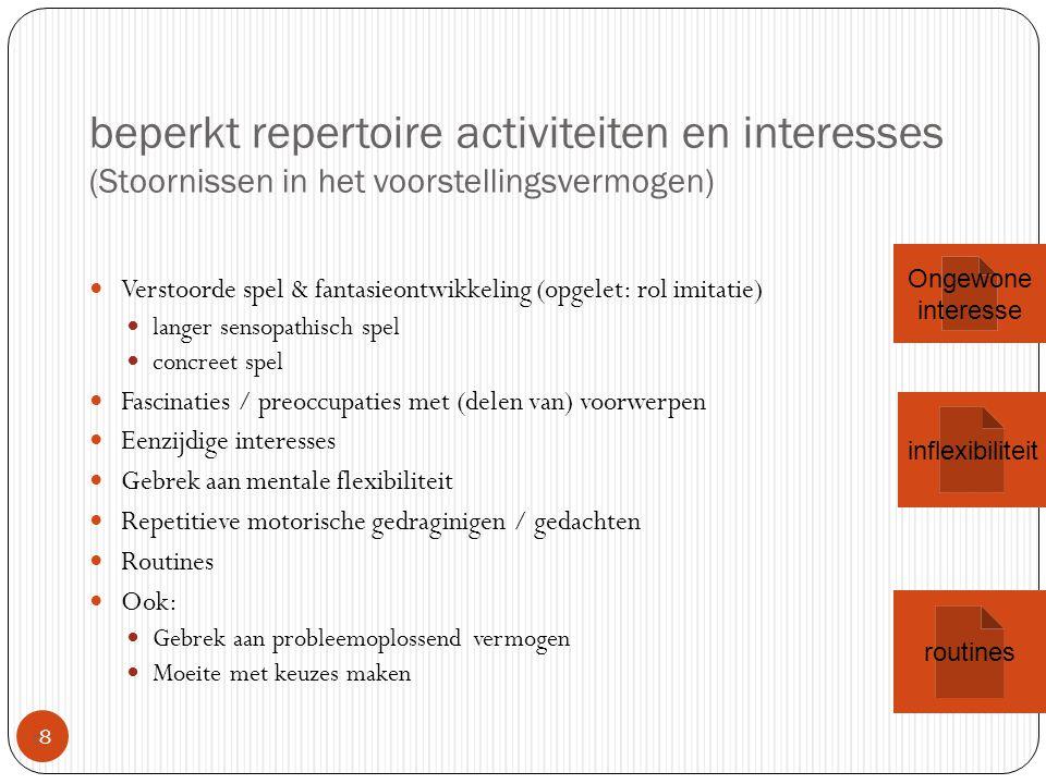 beperkt repertoire activiteiten en interesses (Stoornissen in het voorstellingsvermogen) 88 Verstoorde spel & fantasieontwikkeling (opgelet: rol imi