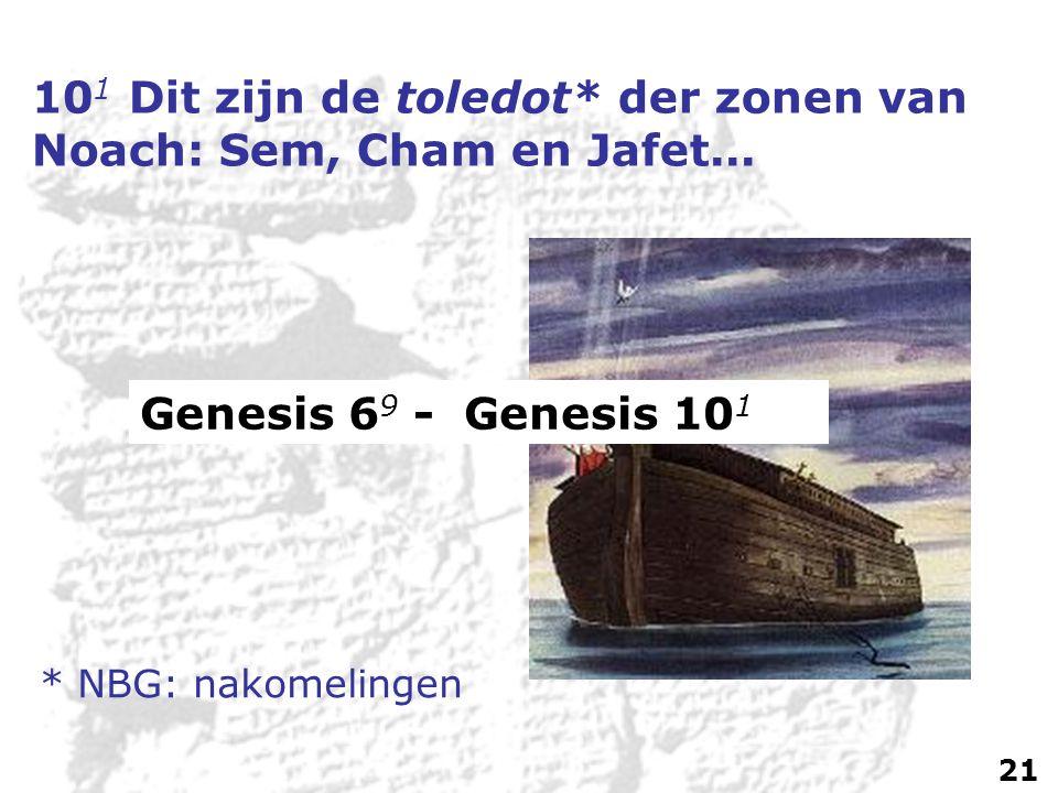 10 1 Dit zijn de toledot* der zonen van Noach: Sem, Cham en Jafet...