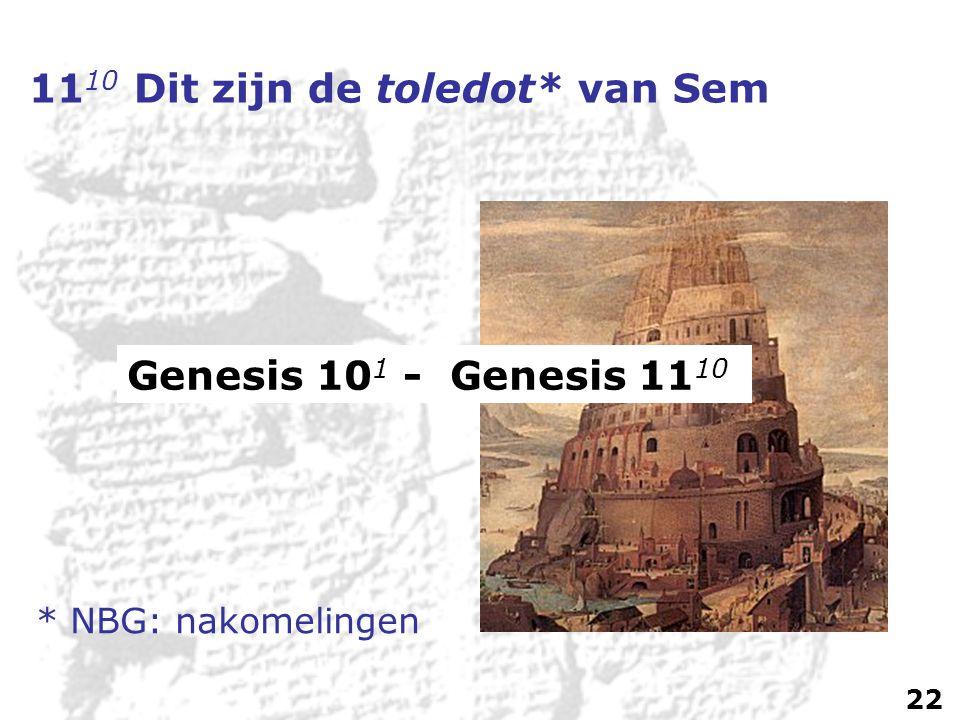 11 10 Dit zijn de toledot* van Sem Genesis 10 1 - Genesis 11 10 * NBG: nakomelingen 22