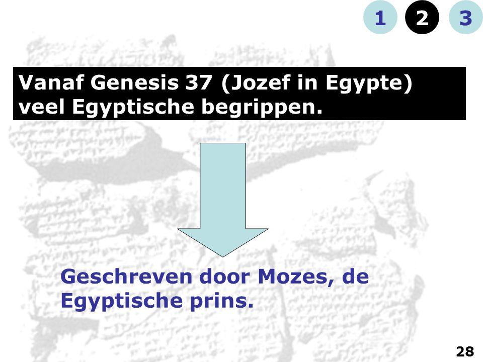 Vanaf Genesis 37 (Jozef in Egypte) veel Egyptische begrippen.