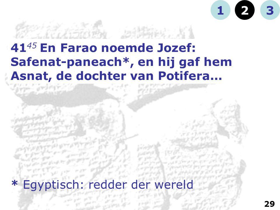 41 45 En Farao noemde Jozef: Safenat-paneach*, en hij gaf hem Asnat, de dochter van Potifera...