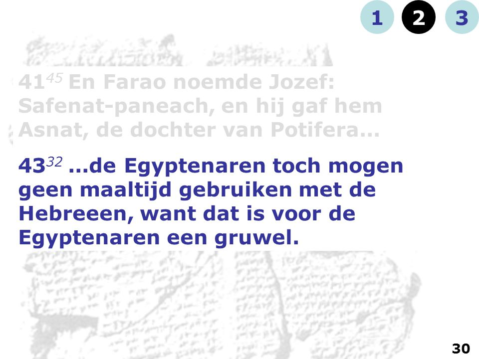 41 45 En Farao noemde Jozef: Safenat-paneach, en hij gaf hem Asnat, de dochter van Potifera...