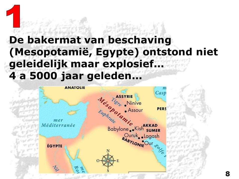 De bakermat van beschaving (Mesopotamië, Egypte) ontstond niet geleidelijk maar explosief...