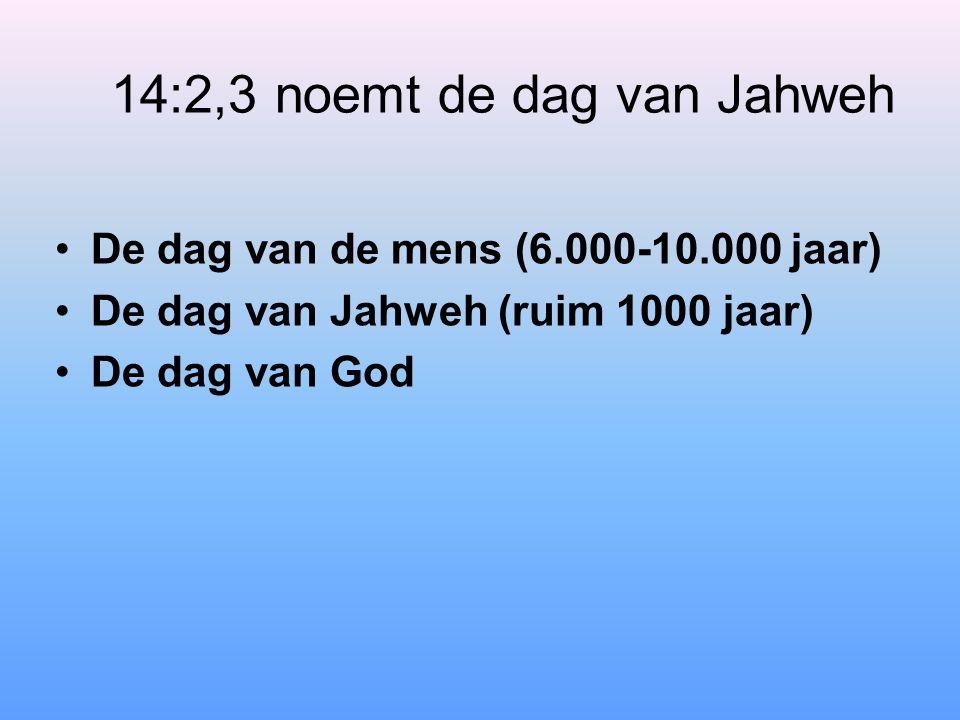 14:2,3 noemt de dag van Jahweh De dag van de mens (6.000-10.000 jaar) De dag van Jahweh (ruim 1000 jaar) De dag van God