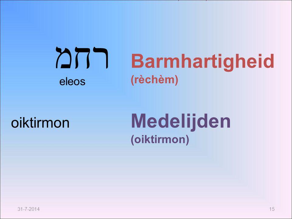 31-7-201415 רחמ Barmhartigheid (rèchèm) Medelijden (oiktirmon) oiktirmon eleos
