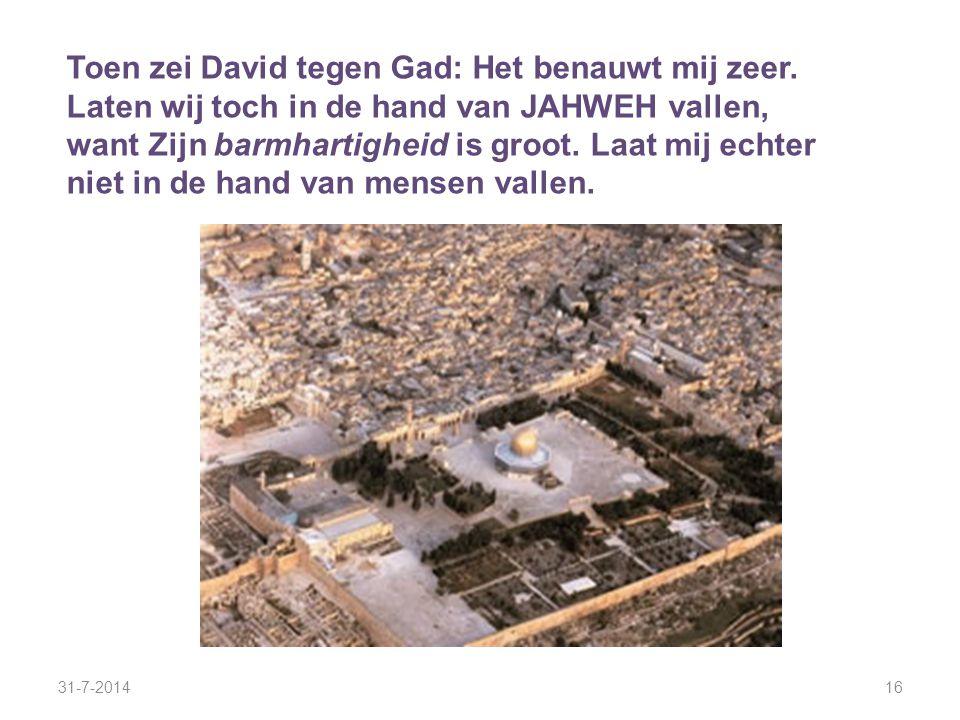 31-7-201416 Toen zei David tegen Gad: Het benauwt mij zeer. Laten wij toch in de hand van JAHWEH vallen, want Zijn barmhartigheid is groot. Laat mij e