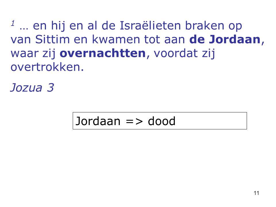 11 1 … en hij en al de Israëlieten braken op van Sittim en kwamen tot aan de Jordaan, waar zij overnachtten, voordat zij overtrokken.