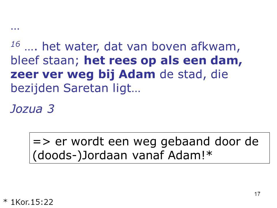 17 … 16 …. het water, dat van boven afkwam, bleef staan; het rees op als een dam, zeer ver weg bij Adam de stad, die bezijden Saretan ligt… Jozua 3 =>