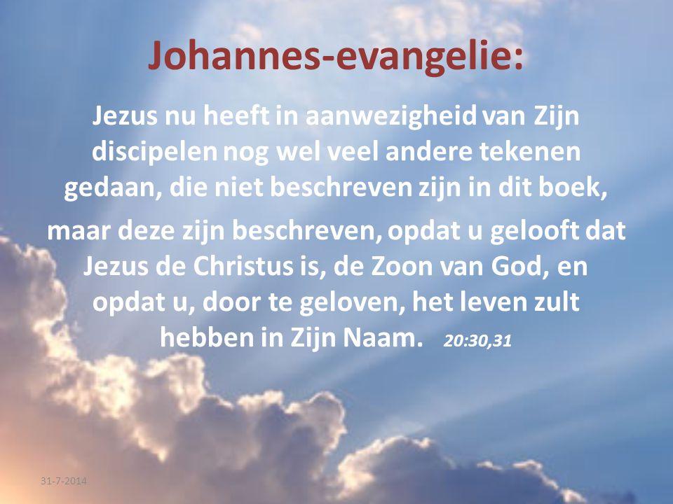 Johannes-evangelie: Jezus nu heeft in aanwezigheid van Zijn discipelen nog wel veel andere tekenen gedaan, die niet beschreven zijn in dit boek, maar