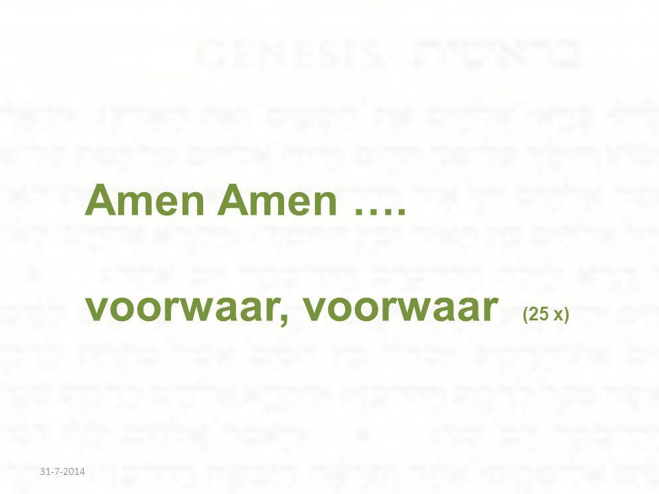 Amen Amen …. voorwaar, voorwaar (25 x)