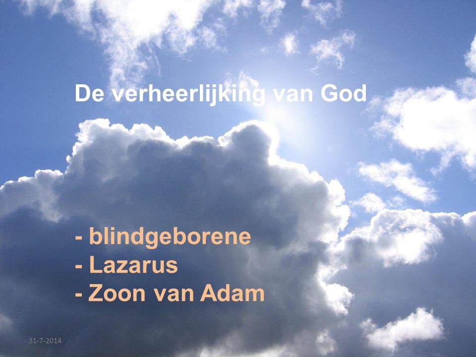 De verheerlijking van God - blindgeborene - Lazarus - Zoon van Adam 31-7-2014