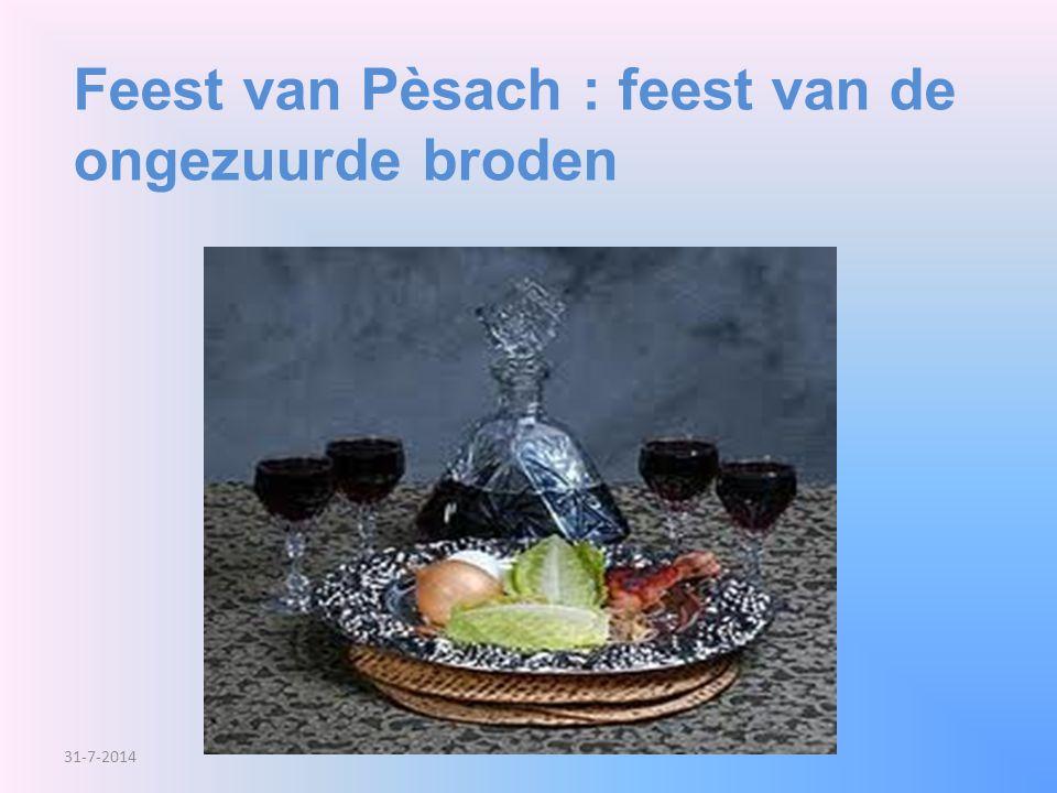Feest van Pèsach : feest van de ongezuurde broden 31-7-2014
