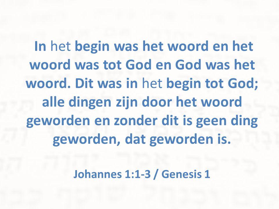 In het begin was het woord en het woord was tot God en God was het woord. Dit was in het begin tot God; alle dingen zijn door het woord geworden en zo