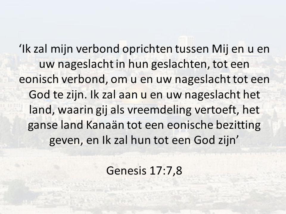 'Ik zal mijn verbond oprichten tussen Mij en u en uw nageslacht in hun geslachten, tot een eonisch verbond, om u en uw nageslacht tot een God te zijn.