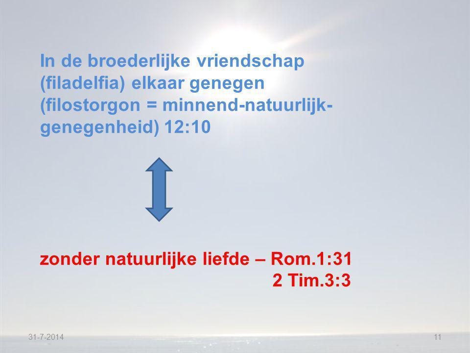 31-7-201411 In de broederlijke vriendschap (filadelfia) elkaar genegen (filostorgon = minnend-natuurlijk- genegenheid) 12:10 zonder natuurlijke liefde – Rom.1:31 2 Tim.3:3