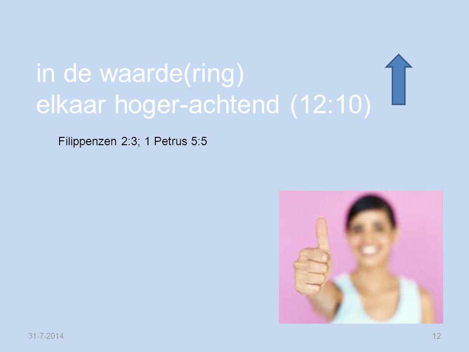31-7-201412 in de waarde(ring) elkaar hoger-achtend (12:10) Filippenzen 2:3; 1 Petrus 5:5