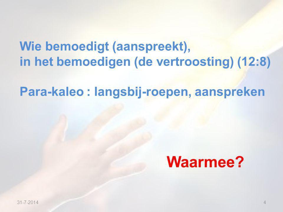 31-7-20144 Wie bemoedigt (aanspreekt), in het bemoedigen (de vertroosting) (12:8) Para-kaleo : langsbij-roepen, aanspreken Waarmee
