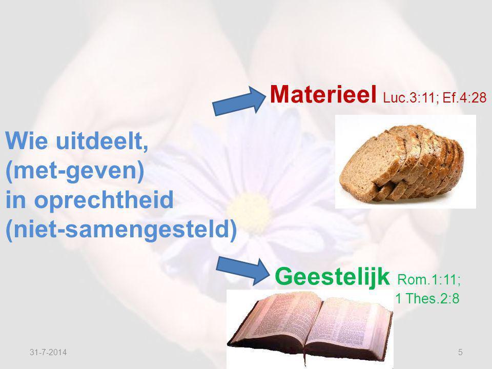 31-7-20145 Wie uitdeelt, (met-geven) in oprechtheid (niet-samengesteld) Materieel Luc.3:11; Ef.4:28 Geestelijk Rom.1:11; 1 Thes.2:8