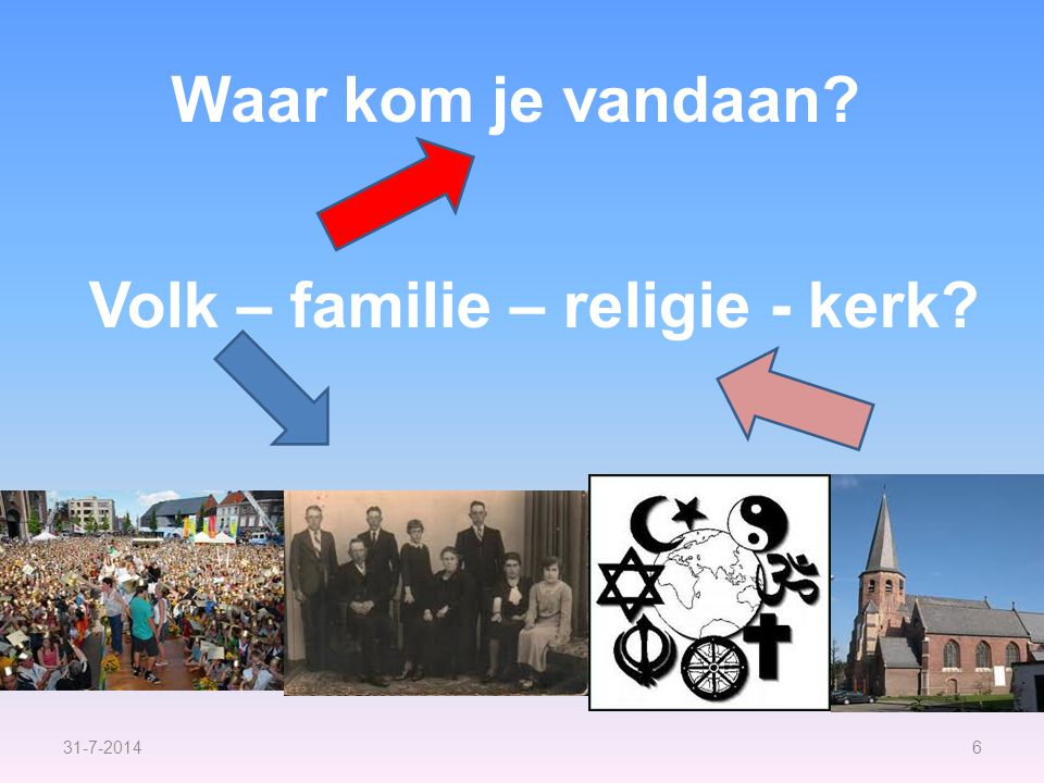 31-7-20146 Waar kom je vandaan Volk – familie – religie - kerk