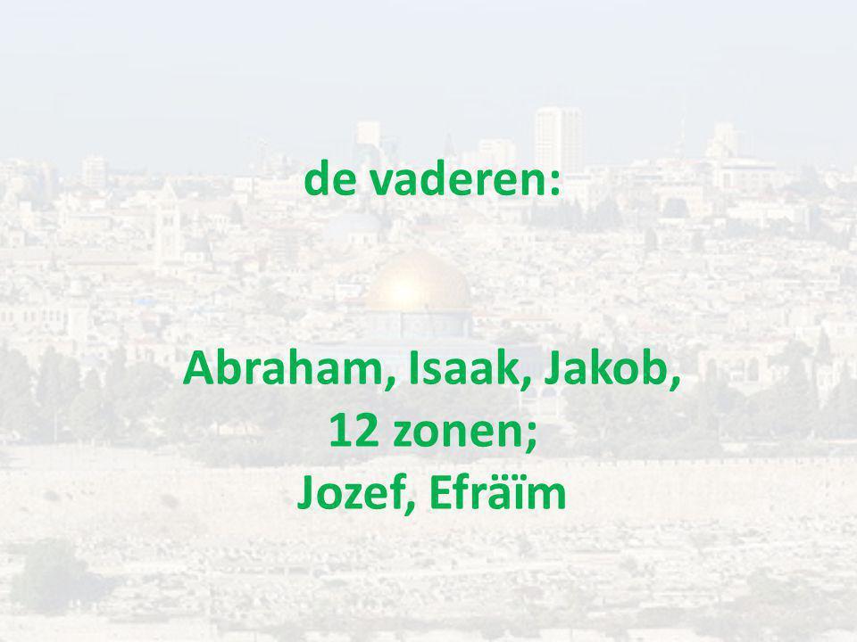de vaderen: Abraham, Isaak, Jakob, 12 zonen; Jozef, Efräïm