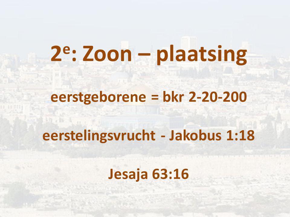 2 e : Zoon – plaatsing eerstgeborene = bkr 2-20-200 eerstelingsvrucht - Jakobus 1:18 Jesaja 63:16