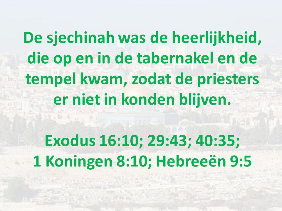 De sjechinah was de heerlijkheid, die op en in de tabernakel en de tempel kwam, zodat de priesters er niet in konden blijven.