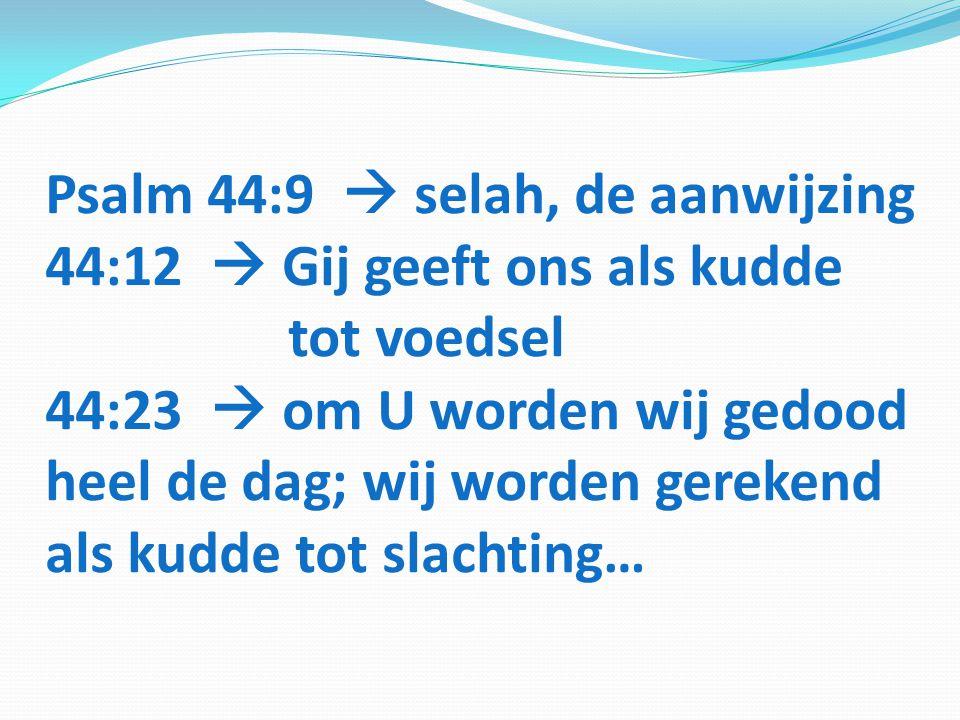 Psalm 44:9  selah, de aanwijzing 44:12  Gij geeft ons als kudde tot voedsel 44:23  om U worden wij gedood heel de dag; wij worden gerekend als kudd