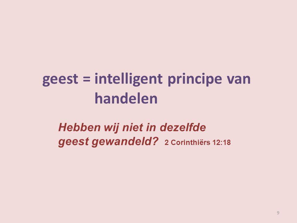geest: intelligent principe van handelen 10 zachtmoedigheid 1 Corinthiërs 4:21 profetie Openbaring 19:10 geloof 2 Corinthiërs 4:13 zoonschap Romeinen 8:15