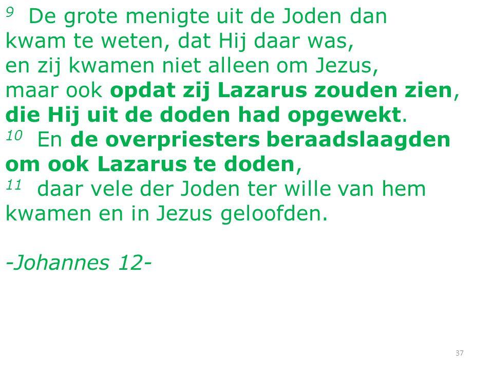 37 9 De grote menigte uit de Joden dan kwam te weten, dat Hij daar was, en zij kwamen niet alleen om Jezus, maar ook opdat zij Lazarus zouden zien, die Hij uit de doden had opgewekt.