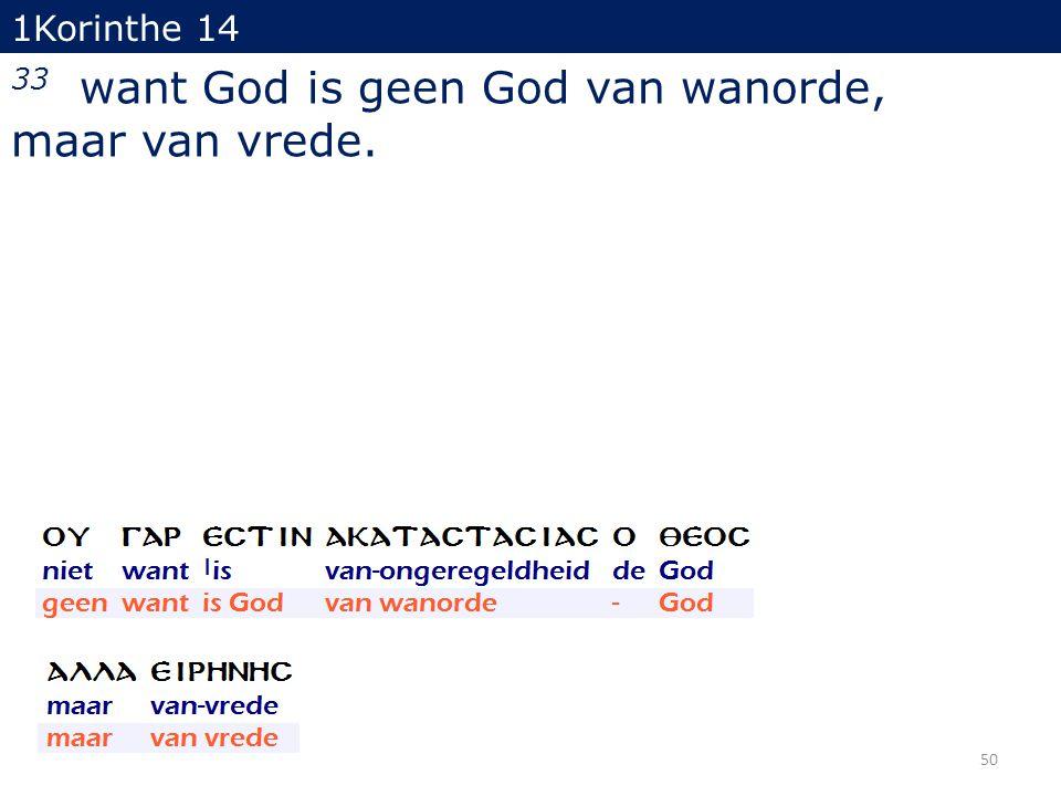 1Korinthe 14 33 want God is geen God van wanorde, maar van vrede. 50