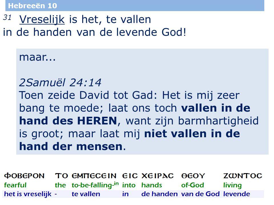 34 Hebreeën 10 31 Vreselijk is het, te vallen in de handen van de levende God.