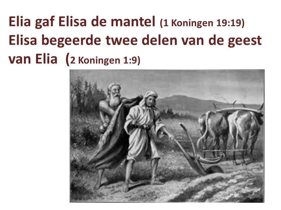 Bij Elia 8 wonderen: -hemel gesloten, geen regen (1 Kon.17:1) -olie vermeerderd (17:14) -zoon van de weduwe opgewekt (17:22,23) -vuur van de hemel (18:38) -regen (18:45) -vuur op de 50 (2 Kon.1:10) -vuur op de 50 (2 Kon.1:12) -Jordaan wijkt (2 Kon.2:8)