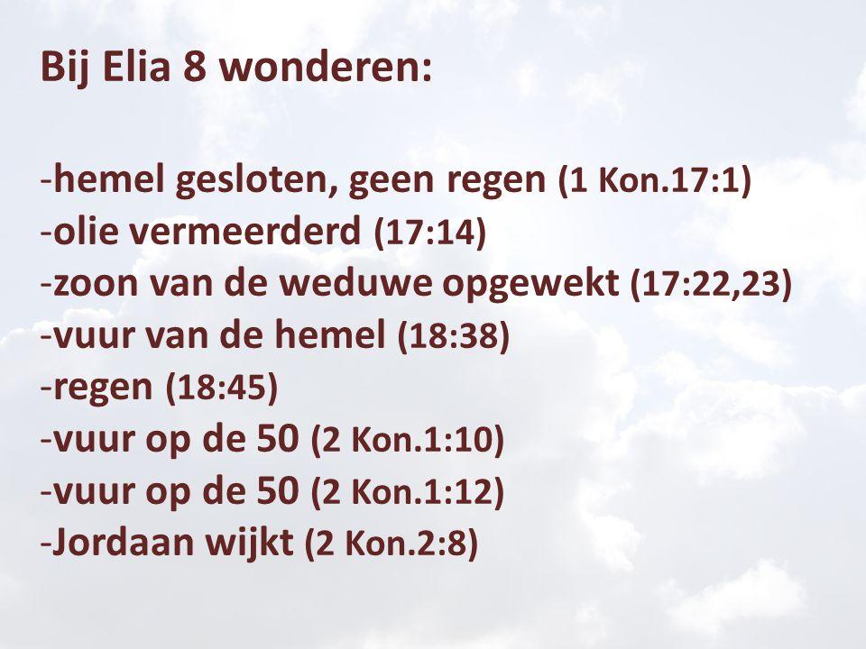 Bij Elisa 16 wonderen: - Jordaan wijkt (2:14)- brood vermeerderd (4:43) - wateren gezond gemaakt (2:21)- Naäman genezen (5:10) - beren uit het woud (2:24)- Gehazi melaats (5:27) - water voor koningen (3:20)- IJzer komt boven drijven (6:6) - olie voor de weduwe (4:1-7)- blinden gaan zien (6:17) - geschenk: een zoon (4:16,17)- met blindheid geslagen (6:18) - opwekking uit de dood (4:35)- herstel van zicht (6:20) - meel in de pan (4:41)- man leeft in het graf (13:21)