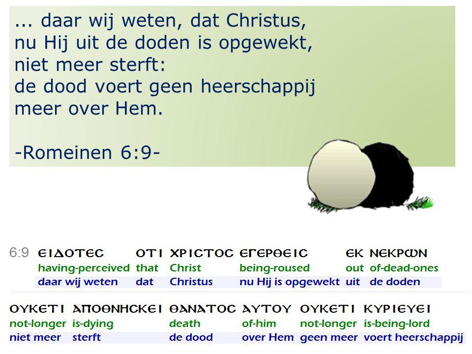 32... daar wij weten, dat Christus, nu Hij uit de doden is opgewekt, niet meer sterft: de dood voert geen heerschappij meer over Hem. -Romeinen 6:9-