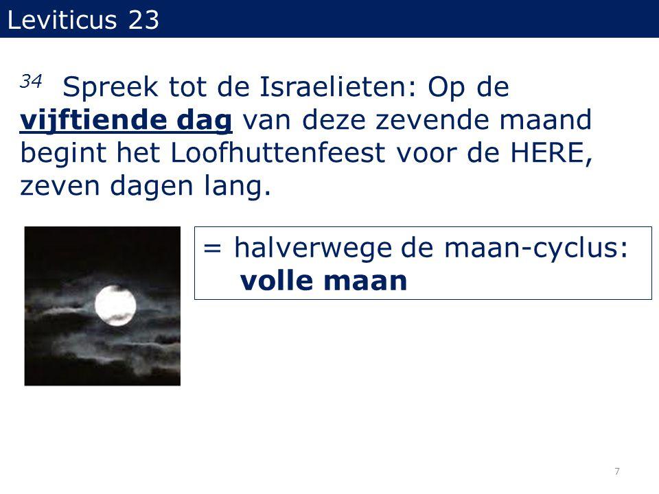 Leviticus 23 34 Spreek tot de Israelieten: Op de vijftiende dag van deze zevende maand begint het Loofhuttenfeest voor de HERE, zeven dagen lang.