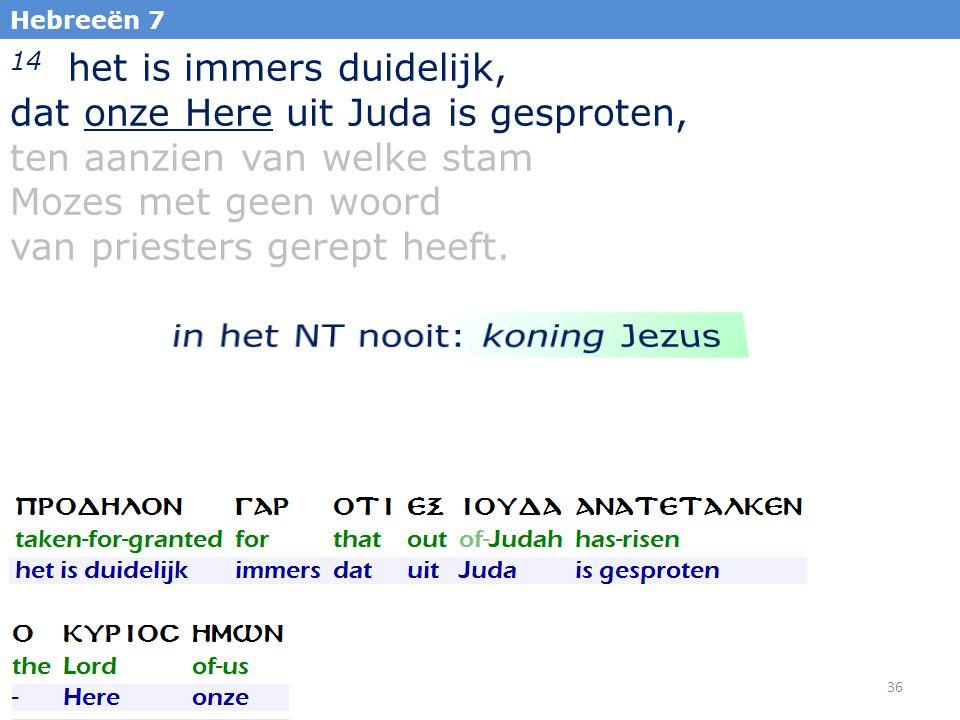 36 Hebreeën 7 14 het is immers duidelijk, dat onze Here uit Juda is gesproten, ten aanzien van welke stam Mozes met geen woord van priesters gerept heeft.