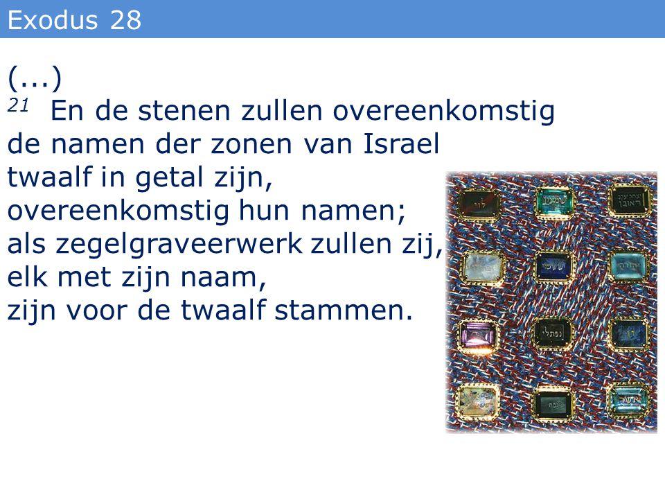 Exodus 28 (...) 21 En de stenen zullen overeenkomstig de namen der zonen van Israel twaalf in getal zijn, overeenkomstig hun namen; als zegelgraveerwe
