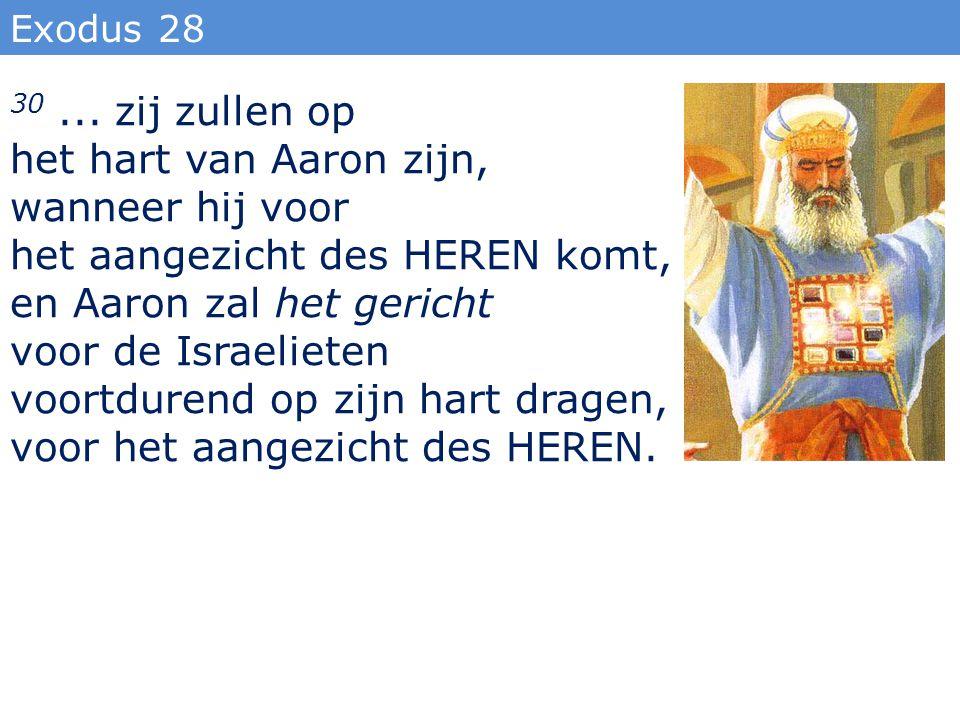 Exodus 28 30... zij zullen op het hart van Aaron zijn, wanneer hij voor het aangezicht des HEREN komt, en Aaron zal het gericht voor de Israelieten vo