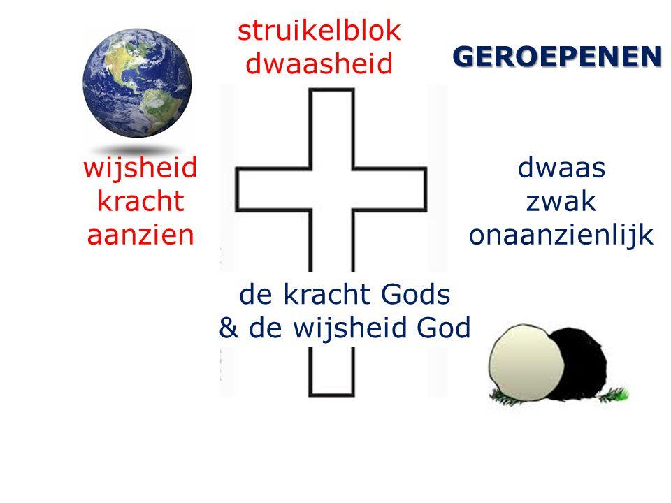wijsheid kracht aanzien de kracht Gods & de wijsheid God struikelblok dwaasheid GEROEPENEN dwaas zwak onaanzienlijk