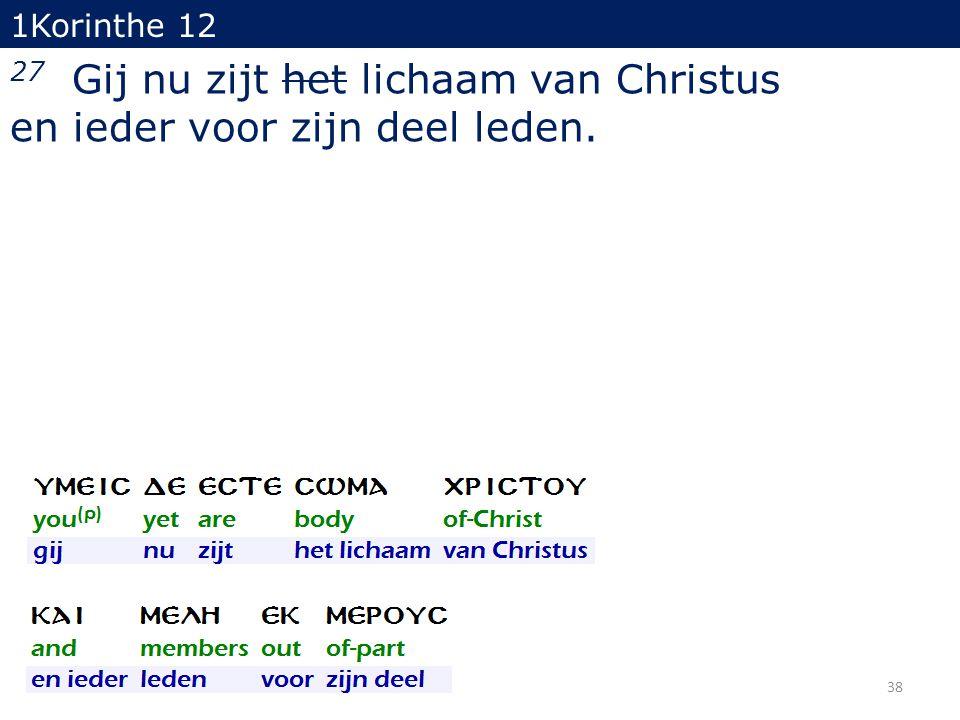 1Korinthe 12 27 Gij nu zijt het lichaam van Christus en ieder voor zijn deel leden. 38