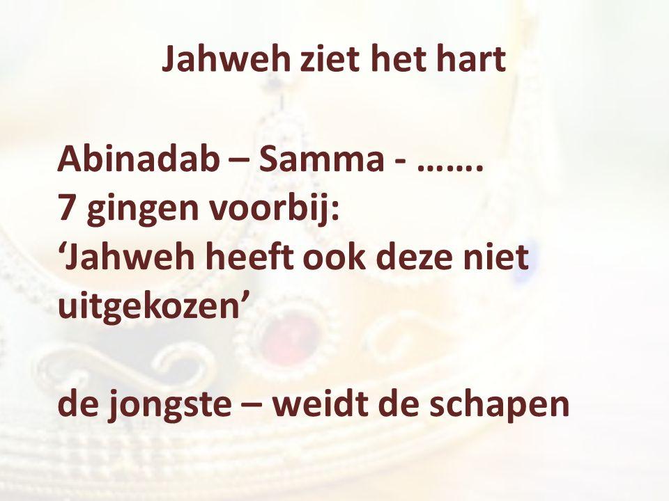 Jahweh ziet het hart Abinadab – Samma - ……. 7 gingen voorbij: 'Jahweh heeft ook deze niet uitgekozen' de jongste – weidt de schapen