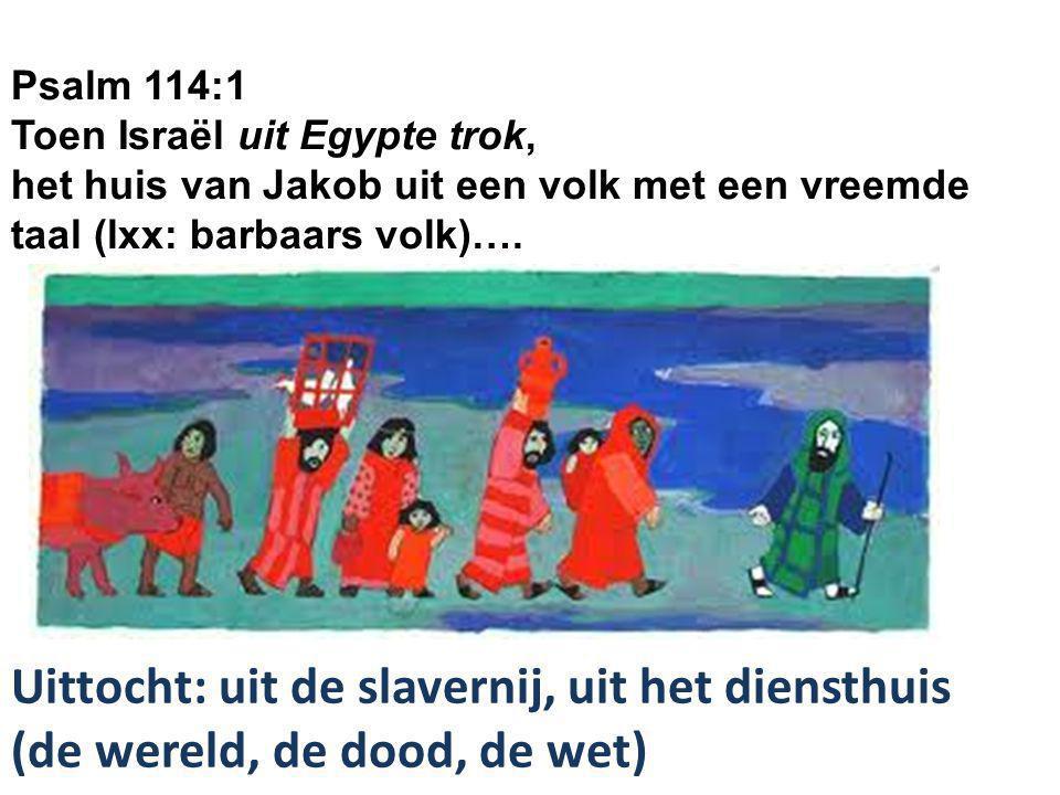 Psalm 114:1 Toen Israël uit Egypte trok, het huis van Jakob uit een volk met een vreemde taal (lxx: barbaars volk)…. Uittocht: uit de slavernij, uit h