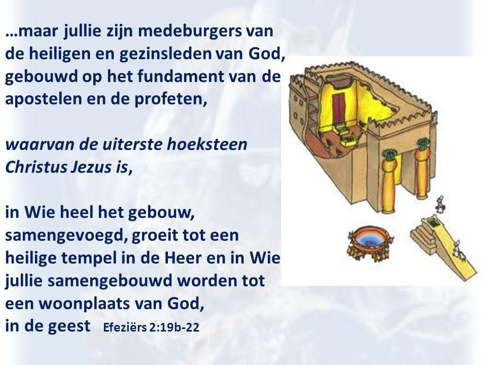 …maar jullie zijn medeburgers van de heiligen en gezinsleden van God, gebouwd op het fundament van de apostelen en de profeten, waarvan de uiterste ho