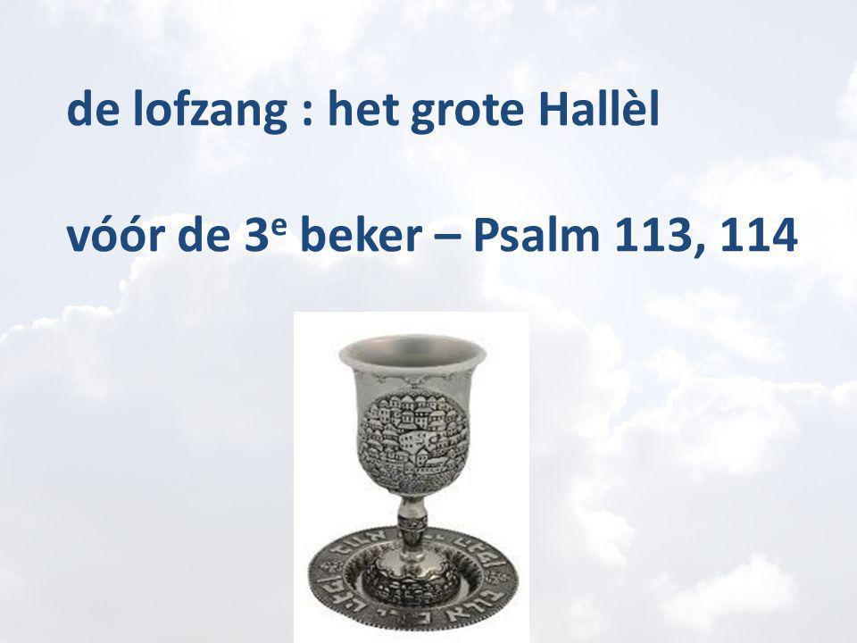 de lofzang : het grote Hallèl vóór de 3 e beker – Psalm 113, 114