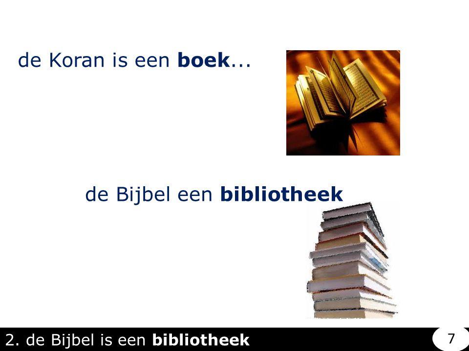 de Koran is een boek... de Bijbel een bibliotheek 2. de Bijbel is een bibliotheek 7