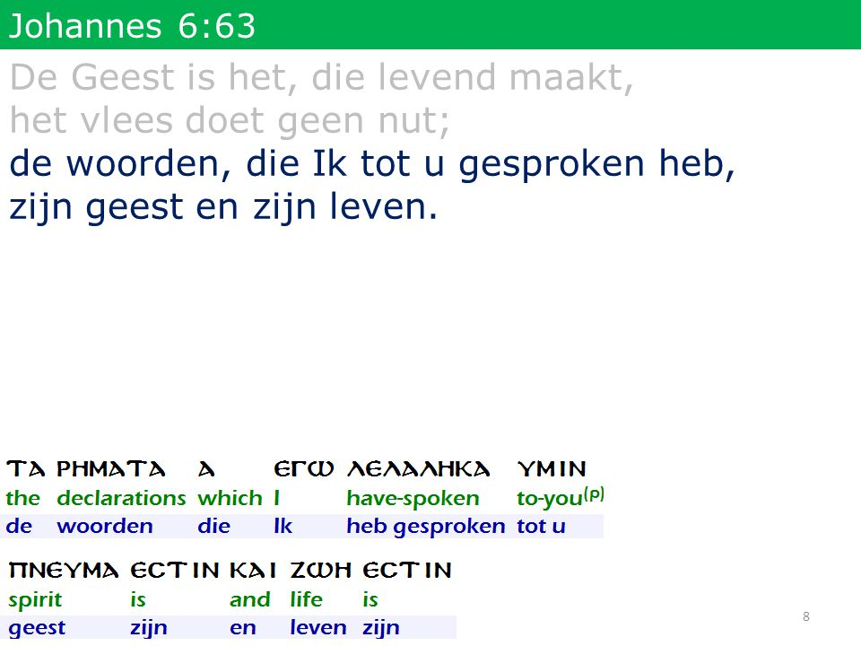 Johannes 6:63 De Geest is het, die levend maakt, het vlees doet geen nut; de woorden, die Ik tot u gesproken heb, zijn geest en zijn leven. 8