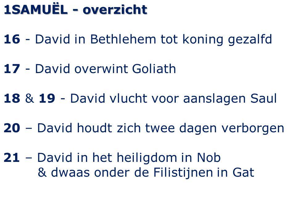 1SAMUËL - overzicht 16 - David in Bethlehem tot koning gezalfd 17 - David overwint Goliath 18 & 19 - David vlucht voor aanslagen Saul 20 – David houdt